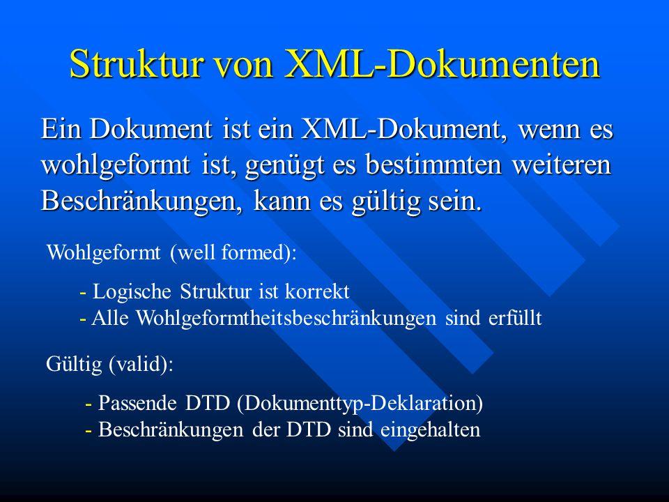 Struktur von XML-Dokumenten Ein Dokument ist ein XML-Dokument, wenn es wohlgeformt ist, genügt es bestimmten weiteren Beschränkungen, kann es gültig sein.