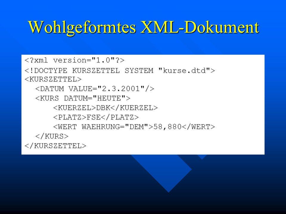 Wohlgeformtes XML-Dokument <KURSZETTEL> </KURSZETTEL> <KUERZEL>DBK</KUERZEL> <PLATZ>FSE</PLATZ> 58,880 58,880 </KURS>
