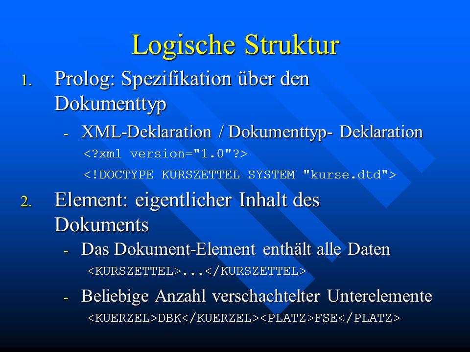 Logische Struktur 1.Prolog: Spezifikation über den Dokumenttyp 2.