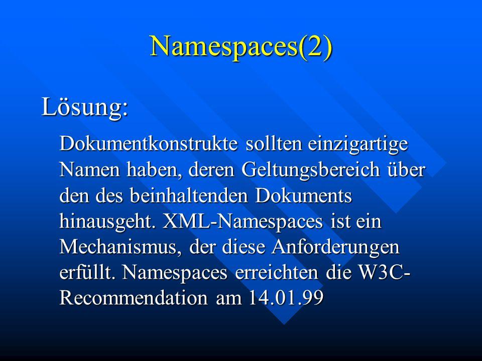 Namespaces(2) Lösung: Dokumentkonstrukte sollten einzigartige Namen haben, deren Geltungsbereich über den des beinhaltenden Dokuments hinausgeht.