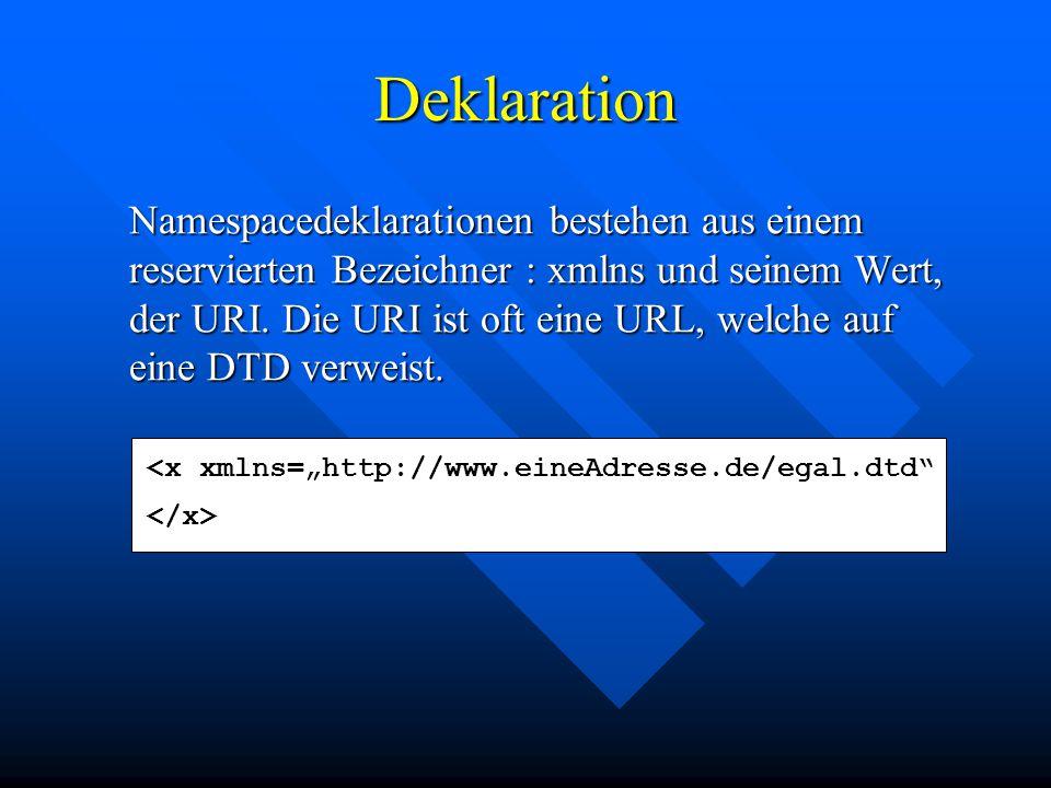 Deklaration Namespacedeklarationen bestehen aus einem reservierten Bezeichner : xmlns und seinem Wert, der URI.