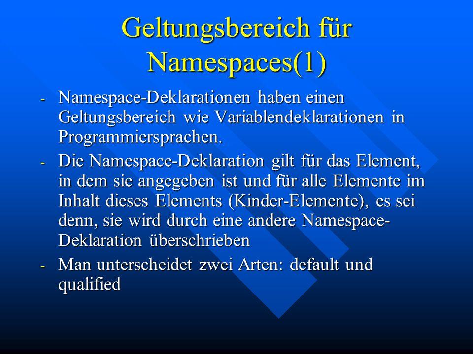 Geltungsbereich für Namespaces(1) - Namespace-Deklarationen haben einen Geltungsbereich wie Variablendeklarationen in Programmiersprachen.