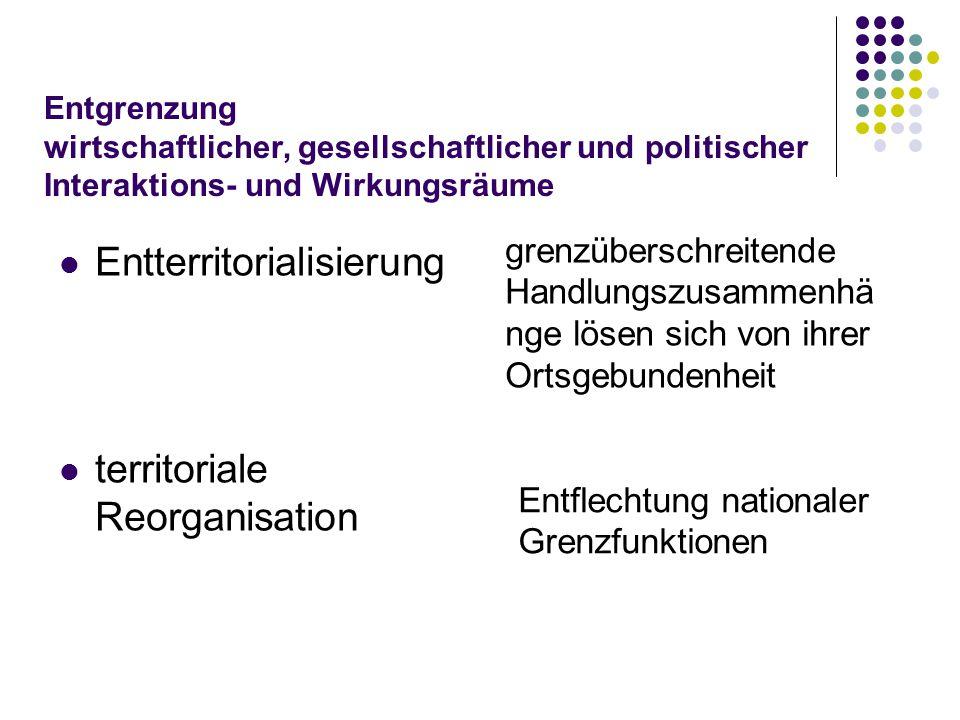 Entgrenzung wirtschaftlicher, gesellschaftlicher und politischer Interaktions- und Wirkungsräume Entterritorialisierung territoriale Reorganisation gr