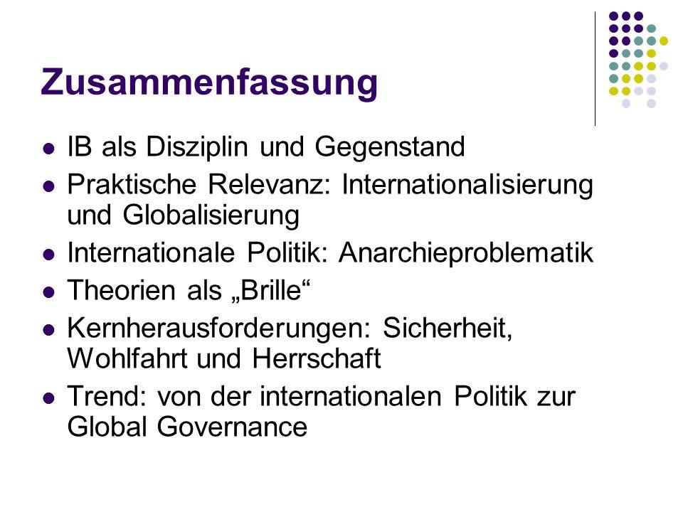 Zusammenfassung IB als Disziplin und Gegenstand Praktische Relevanz: Internationalisierung und Globalisierung Internationale Politik: Anarchieproblema