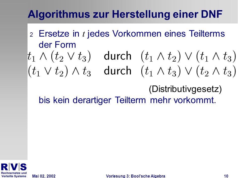 Mai 02, 2002Vorlesung 3: Bool sche Algebra10 Algorithmus zur Herstellung einer DNF 2 Ersetze in t jedes Vorkommen eines Teilterms der Form (Distributivgesetz) bis kein derartiger Teilterm mehr vorkommt.