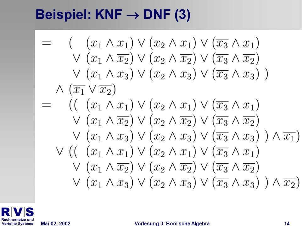 Mai 02, 2002Vorlesung 3: Bool sche Algebra14 Beispiel: KNF  DNF (3)