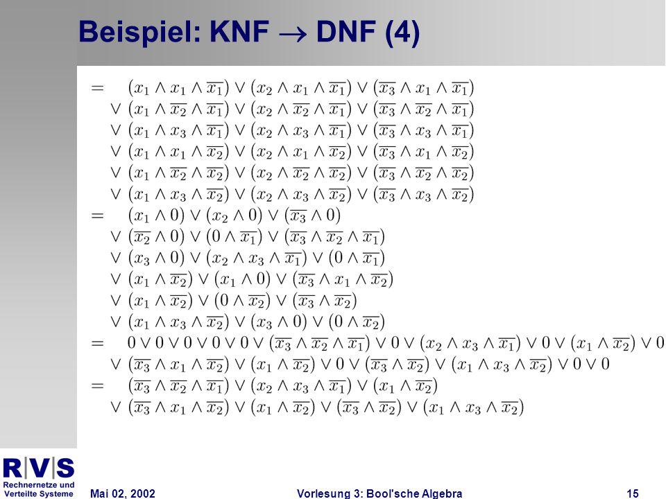 Mai 02, 2002Vorlesung 3: Bool sche Algebra15 Beispiel: KNF  DNF (4)