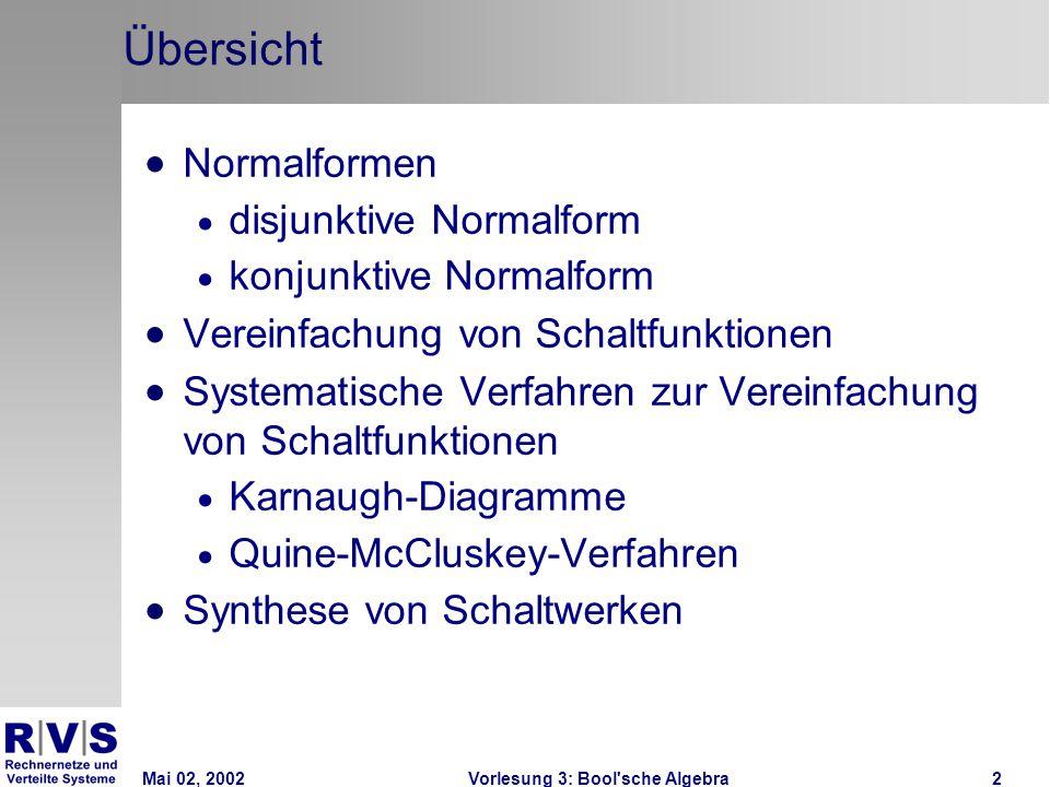 Mai 02, 2002Vorlesung 3: Bool sche Algebra2 Übersicht  Normalformen  disjunktive Normalform  konjunktive Normalform  Vereinfachung von Schaltfunktionen  Systematische Verfahren zur Vereinfachung von Schaltfunktionen  Karnaugh-Diagramme  Quine-McCluskey-Verfahren  Synthese von Schaltwerken