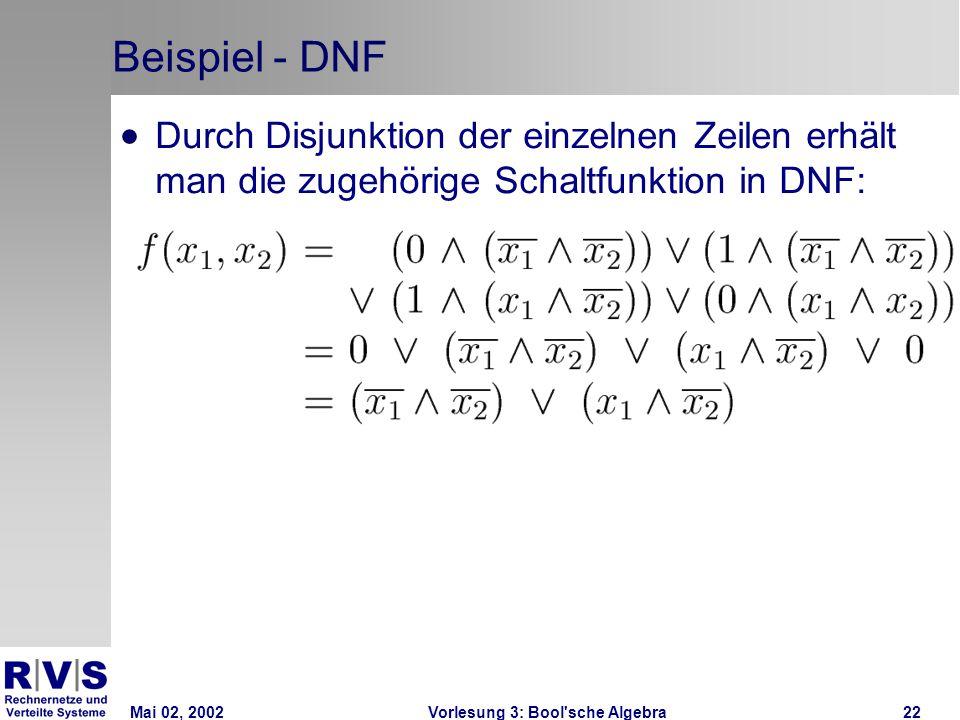 Mai 02, 2002Vorlesung 3: Bool sche Algebra22 Beispiel - DNF  Durch Disjunktion der einzelnen Zeilen erhält man die zugehörige Schaltfunktion in DNF: