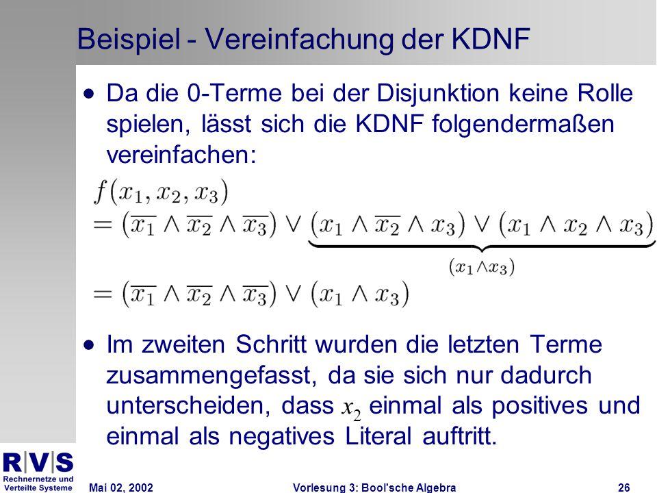 Mai 02, 2002Vorlesung 3: Bool sche Algebra26 Beispiel - Vereinfachung der KDNF  Da die 0-Terme bei der Disjunktion keine Rolle spielen, lässt sich die KDNF folgendermaßen vereinfachen:  Im zweiten Schritt wurden die letzten Terme zusammengefasst, da sie sich nur dadurch unterscheiden, dass x 2 einmal als positives und einmal als negatives Literal auftritt.