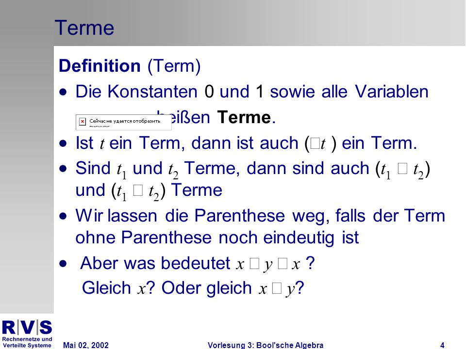 Mai 02, 2002Vorlesung 3: Bool sche Algebra35 K-Diagramme: Beispiel 3  Schaltfunktion  K-Diagramm  Die Schaltfunktion ist durch das K-Diagramm nicht weiter vereinfachbar