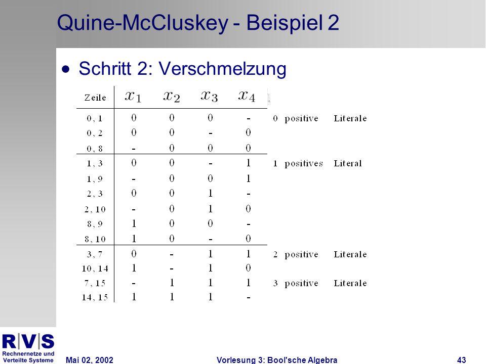 Mai 02, 2002Vorlesung 3: Bool sche Algebra43 Quine-McCluskey - Beispiel 2  Schritt 2: Verschmelzung