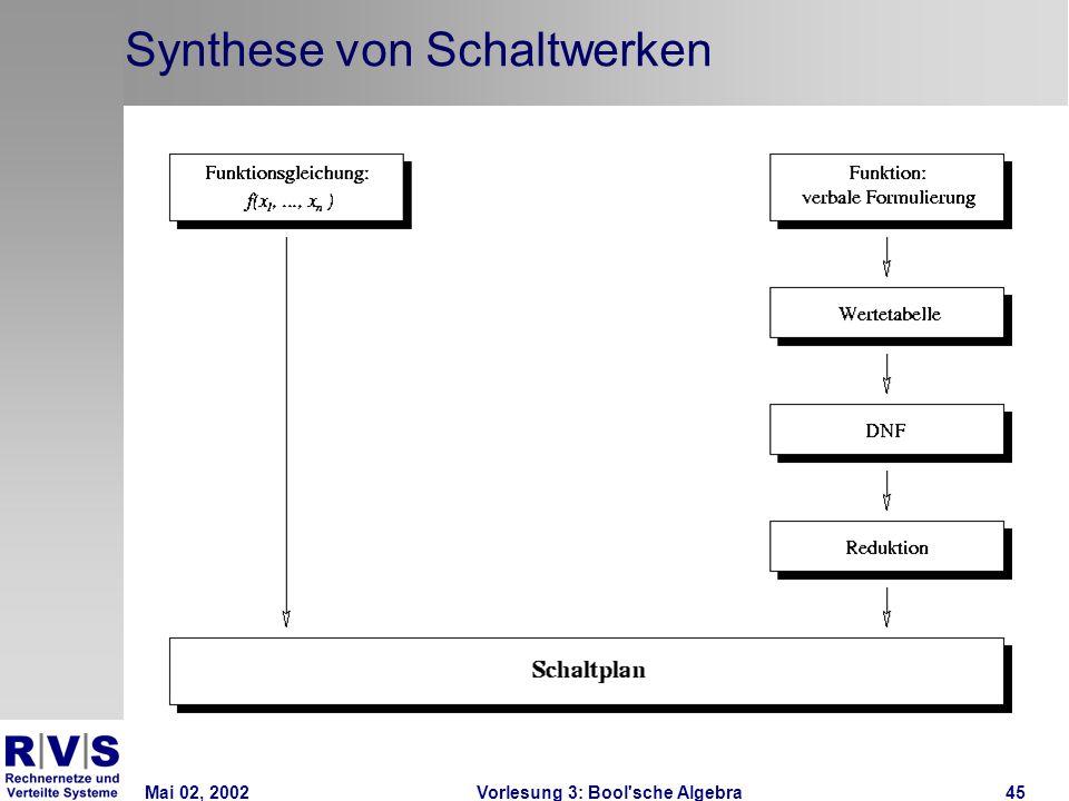 Mai 02, 2002Vorlesung 3: Bool sche Algebra45 Synthese von Schaltwerken