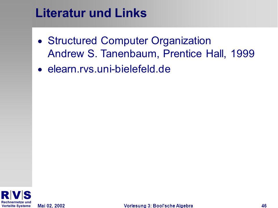 Mai 02, 2002Vorlesung 3: Bool sche Algebra46 Literatur und Links  Structured Computer Organization Andrew S.