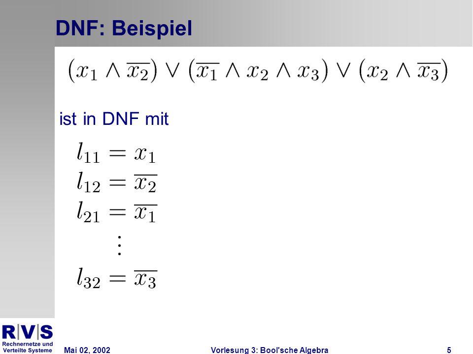Mai 02, 2002Vorlesung 3: Bool sche Algebra36 K-Diagramme: Unterbestimmte Funktion  Eingangswertkombinationen, für die der Funktionswert nicht festgelegt ist, können zur Blockbildung mit 1 oder 0 belegt werden
