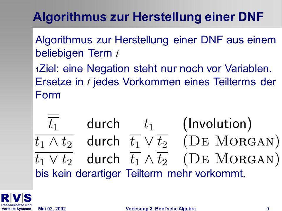 Mai 02, 2002Vorlesung 3: Bool sche Algebra9 Algorithmus zur Herstellung einer DNF Algorithmus zur Herstellung einer DNF aus einem beliebigen Term t 1 Ziel: eine Negation steht nur noch vor Variablen.