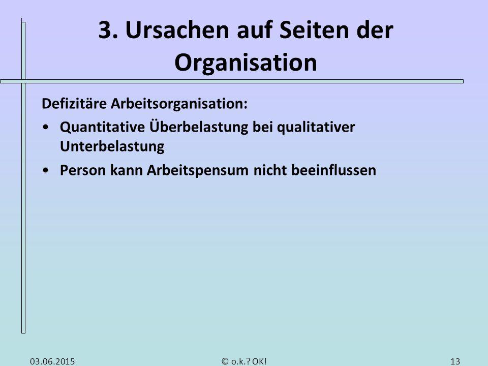 3. Ursachen auf Seiten der Organisation Defizitäre Arbeitsorganisation: Quantitative Überbelastung bei qualitativer Unterbelastung Person kann Arbeits