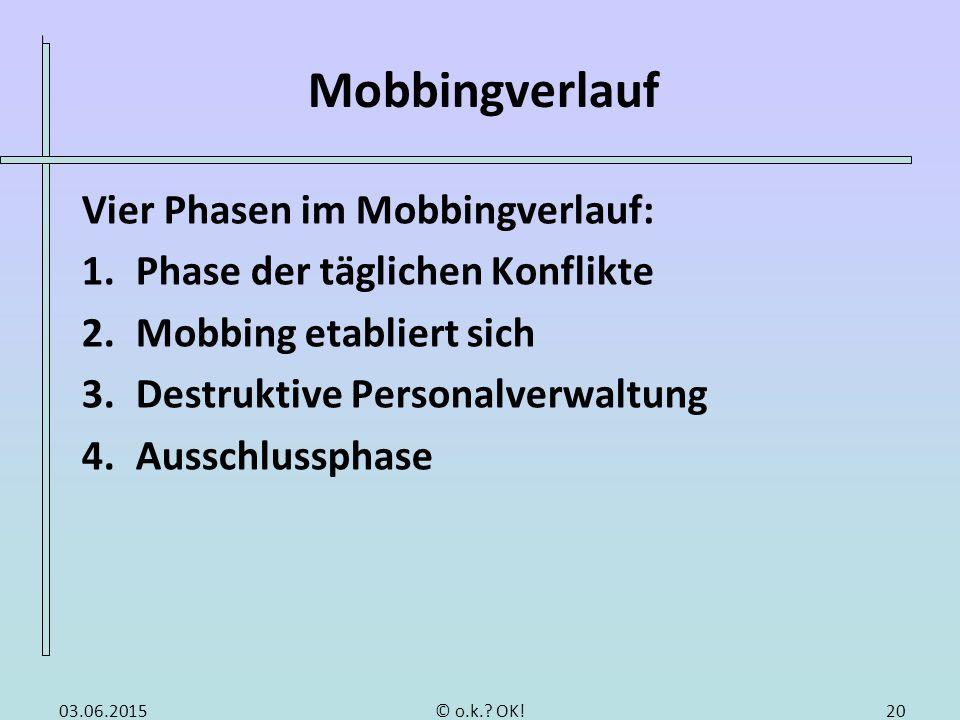 Mobbingverlauf Vier Phasen im Mobbingverlauf: 1.Phase der täglichen Konflikte 2.Mobbing etabliert sich 3.Destruktive Personalverwaltung 4.Ausschlussph