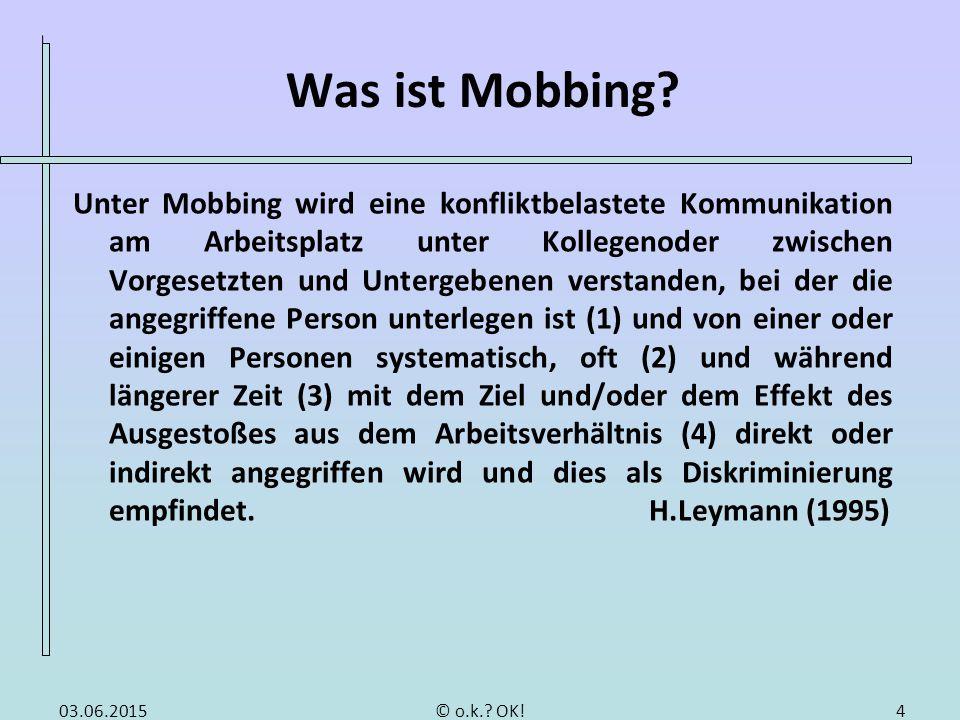 Was ist Mobbing? Unter Mobbing wird eine konfliktbelastete Kommunikation am Arbeitsplatz unter Kollegenoder zwischen Vorgesetzten und Untergebenen ver