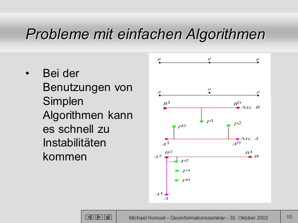 Michael Homoet – Geoinformationsseminar – 30. Oktober 2002 10 Probleme mit einfachen Algorithmen Bei der Benutzungen von Simplen Algorithmen kann es s