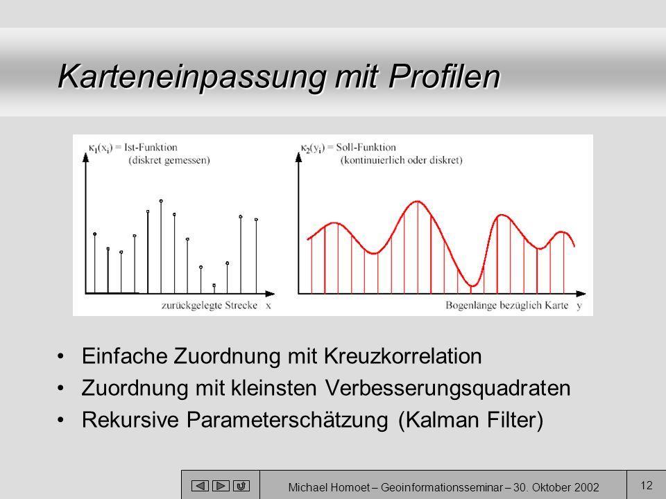 Michael Homoet – Geoinformationsseminar – 30. Oktober 2002 12 Karteneinpassung mit Profilen Einfache Zuordnung mit Kreuzkorrelation Zuordnung mit klei