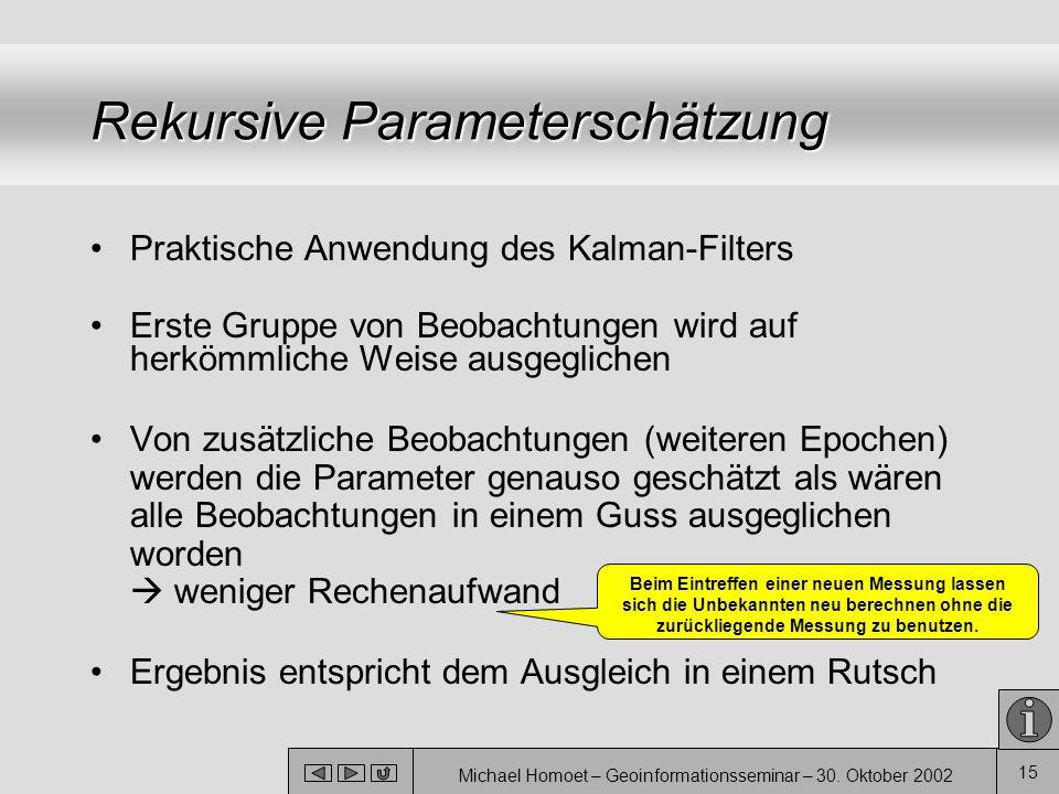 Michael Homoet – Geoinformationsseminar – 30. Oktober 2002 15 Rekursive Parameterschätzung Praktische Anwendung des Kalman-Filters Erste Gruppe von Be