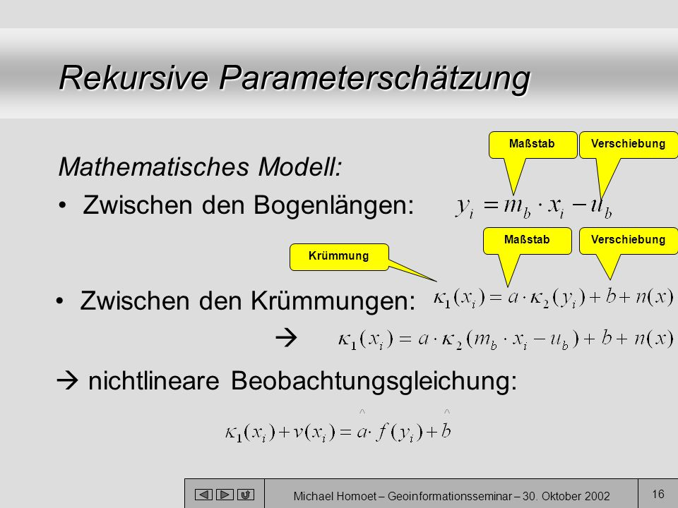 Michael Homoet – Geoinformationsseminar – 30. Oktober 2002 16 Rekursive Parameterschätzung Mathematisches Modell: Zwischen den Bogenlängen: Zwischen d