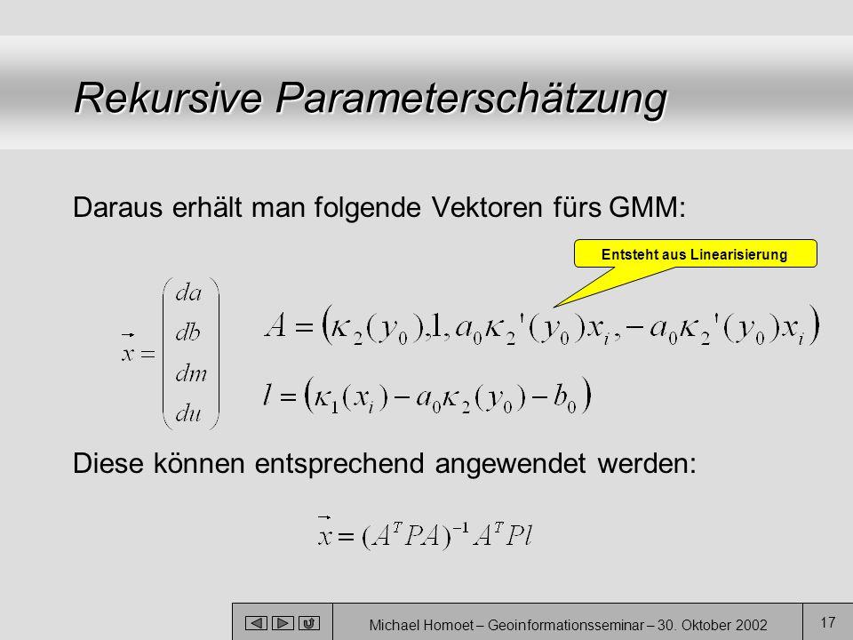 Michael Homoet – Geoinformationsseminar – 30. Oktober 2002 17 Rekursive Parameterschätzung Daraus erhält man folgende Vektoren fürs GMM: Diese können