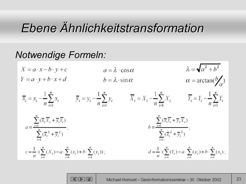 Michael Homoet – Geoinformationsseminar – 30. Oktober 2002 23 Ebene Ähnlichkeitstransformation Notwendige Formeln:
