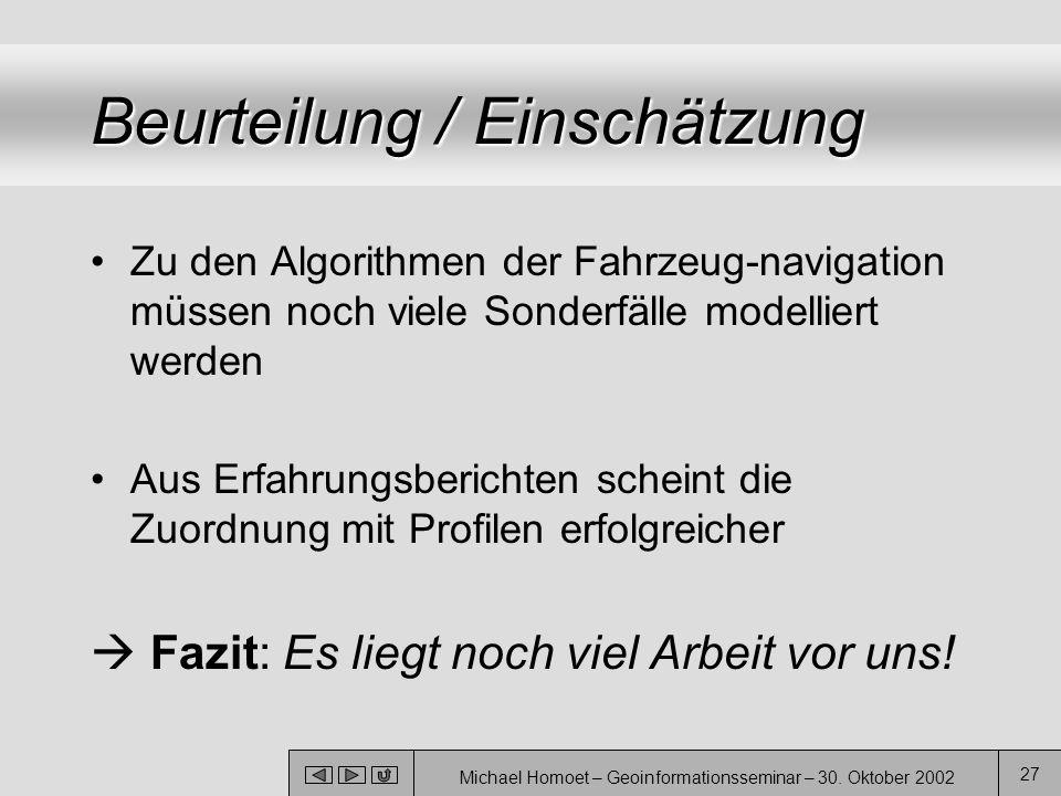 Michael Homoet – Geoinformationsseminar – 30. Oktober 2002 27 Beurteilung / Einschätzung Zu den Algorithmen der Fahrzeug-navigation müssen noch viele