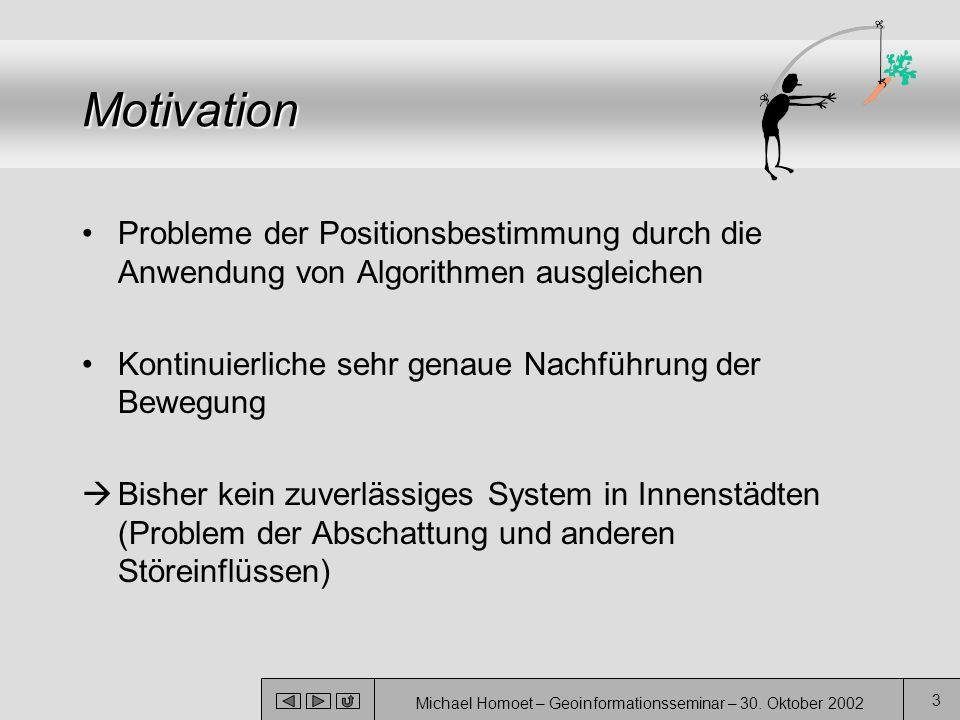 Michael Homoet – Geoinformationsseminar – 30. Oktober 2002 3 Motivation Probleme der Positionsbestimmung durch die Anwendung von Algorithmen ausgleich