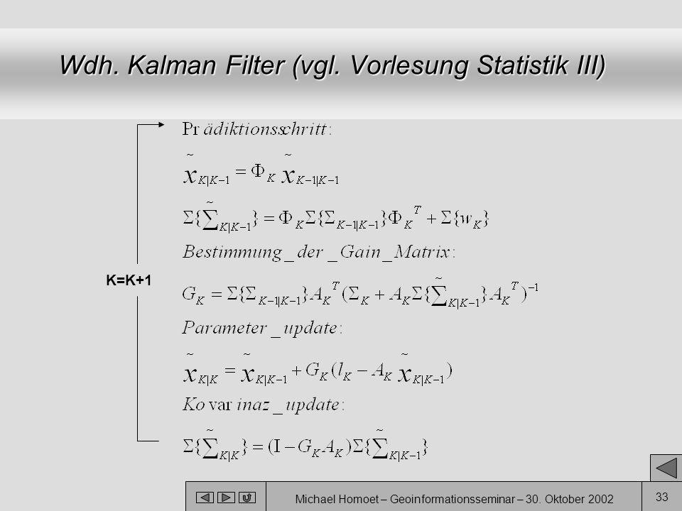Michael Homoet – Geoinformationsseminar – 30. Oktober 2002 33 Wdh. Kalman Filter (vgl. Vorlesung Statistik III) K=K+1