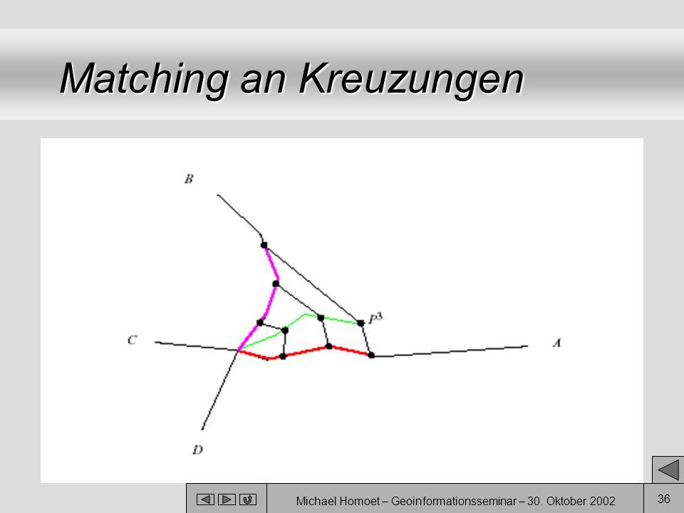 Michael Homoet – Geoinformationsseminar – 30. Oktober 2002 36 Matching an Kreuzungen