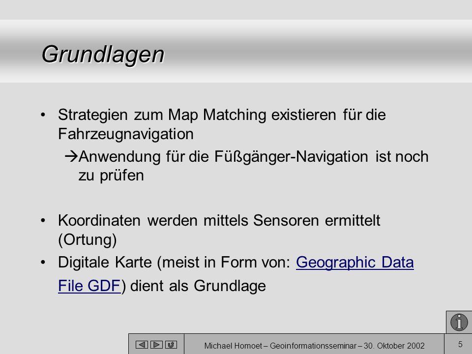 Michael Homoet – Geoinformationsseminar – 30. Oktober 2002 5 Grundlagen Strategien zum Map Matching existieren für die Fahrzeugnavigation  Anwendung