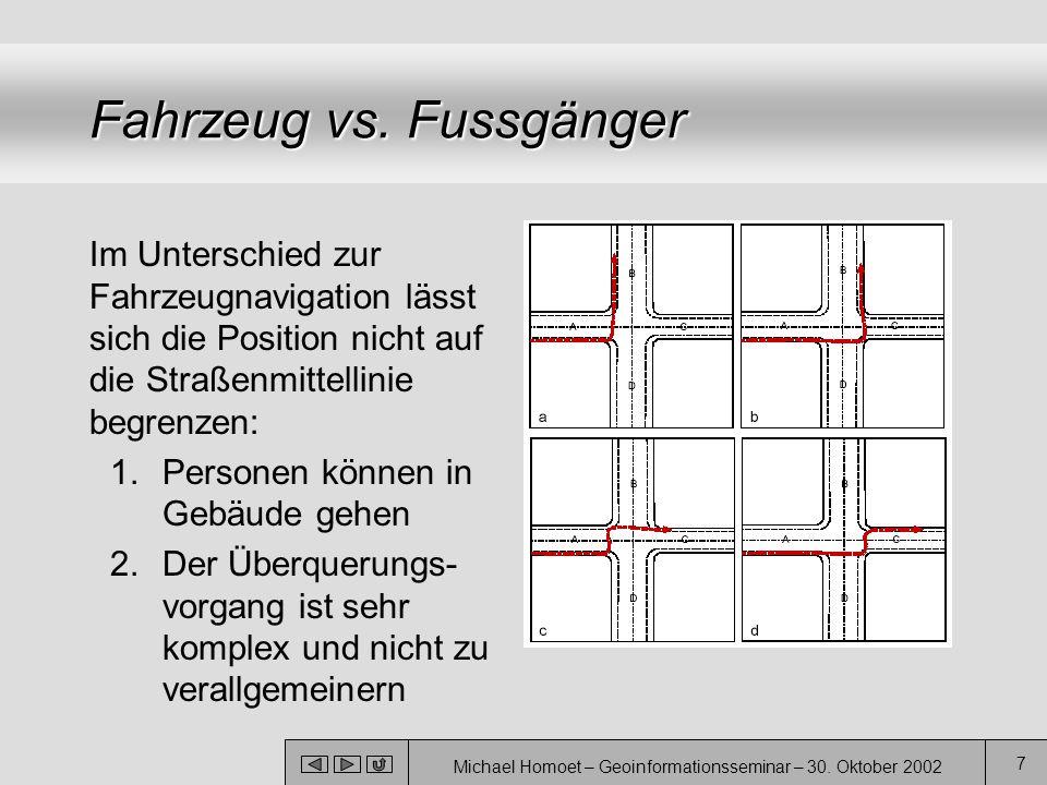 Michael Homoet – Geoinformationsseminar – 30. Oktober 2002 7 Fahrzeug vs. Fussgänger Im Unterschied zur Fahrzeugnavigation lässt sich die Position nic