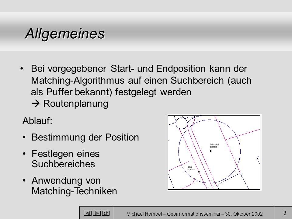 Michael Homoet – Geoinformationsseminar – 30. Oktober 2002 8 Allgemeines Bei vorgegebener Start- und Endposition kann der Matching-Algorithmus auf ein