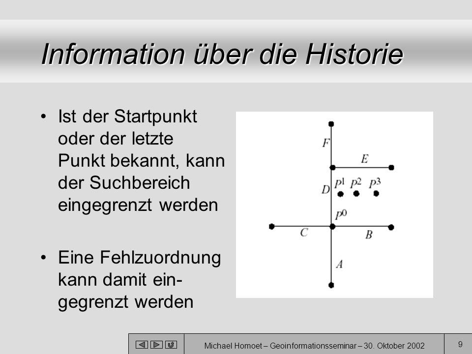 Michael Homoet – Geoinformationsseminar – 30. Oktober 2002 9 Information über die Historie Ist der Startpunkt oder der letzte Punkt bekannt, kann der