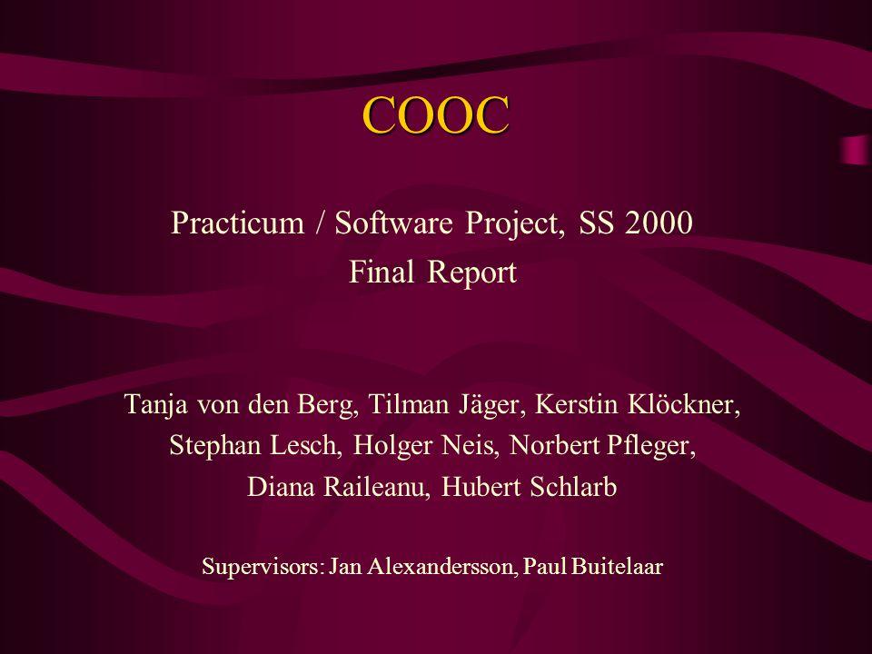 COOC Practicum / Software Project, SS 2000 Final Report Tanja von den Berg, Tilman Jäger, Kerstin Klöckner, Stephan Lesch, Holger Neis, Norbert Pfleger, Diana Raileanu, Hubert Schlarb Supervisors: Jan Alexandersson, Paul Buitelaar