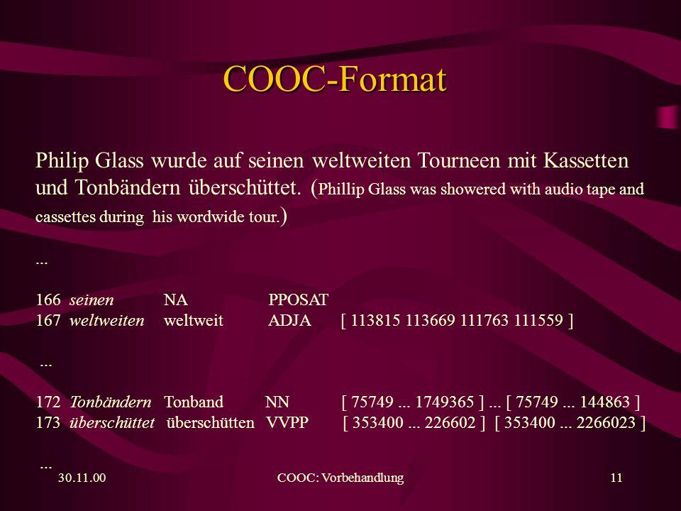 30.11.00COOC: Vorbehandlung11 COOC-Format Philip Glass wurde auf seinen weltweiten Tourneen mit Kassetten und Tonbändern überschüttet.