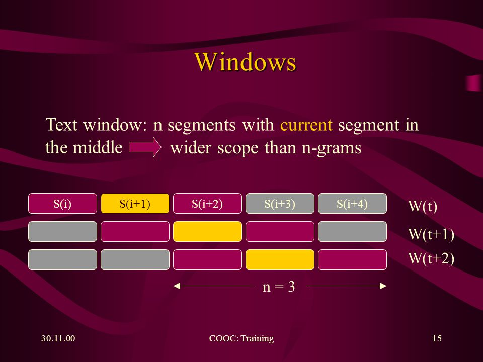 COOC: Training15 Windows Windows Text window: n segments with current segment in the middle wider scope than n-grams S(i)S(i+1)S(i+2)S(i+3)S(i+4) W(t) W(t+1) W(t+2) n = 3
