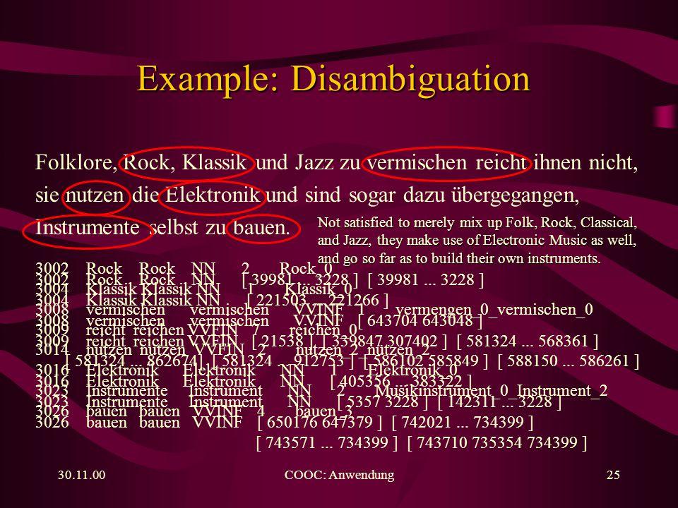 30.11.00COOC: Anwendung25 Folklore, Rock, Klassik und Jazz zu vermischen reicht ihnen nicht, sie nutzen die Elektronik und sind sogar dazu übergegangen, Instrumente selbst zu bauen.