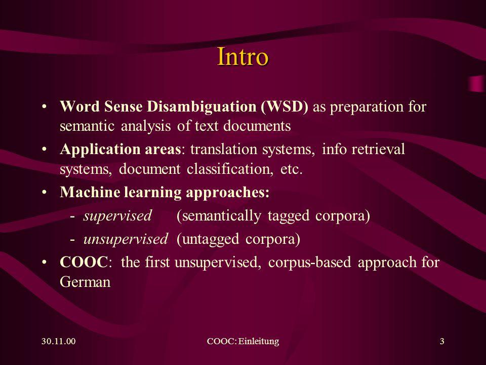 30.11.00COOC: Training14 Segmentation......at sentence boundaries:...or e.g.