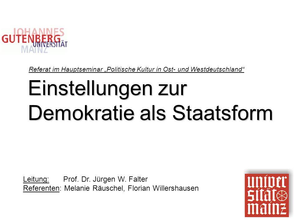 """Einstellungen zur Demokratie als Staatsform Referat im Hauptseminar """"Politische Kultur in Ost- und Westdeutschland"""" Leitung: Prof. Dr. Jürgen W. Falte"""