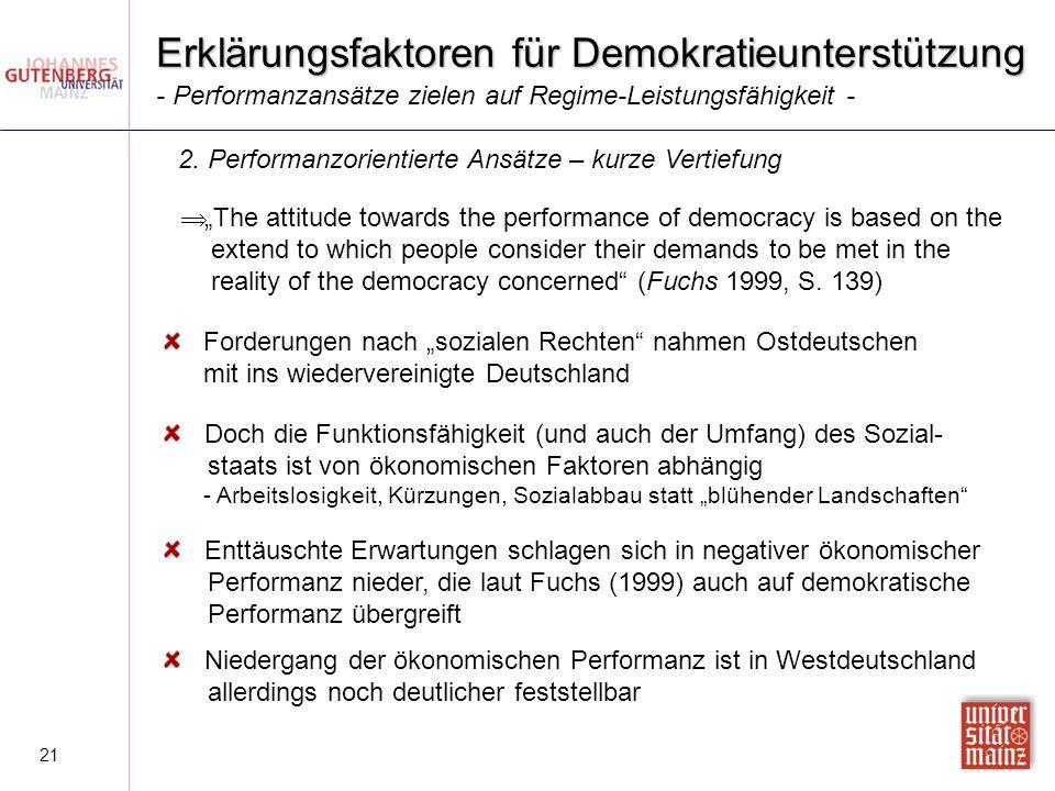 """21 Erklärungsfaktoren für Demokratieunterstützung  """"The attitude towards the performance of democracy is based on the extend to which people consider"""