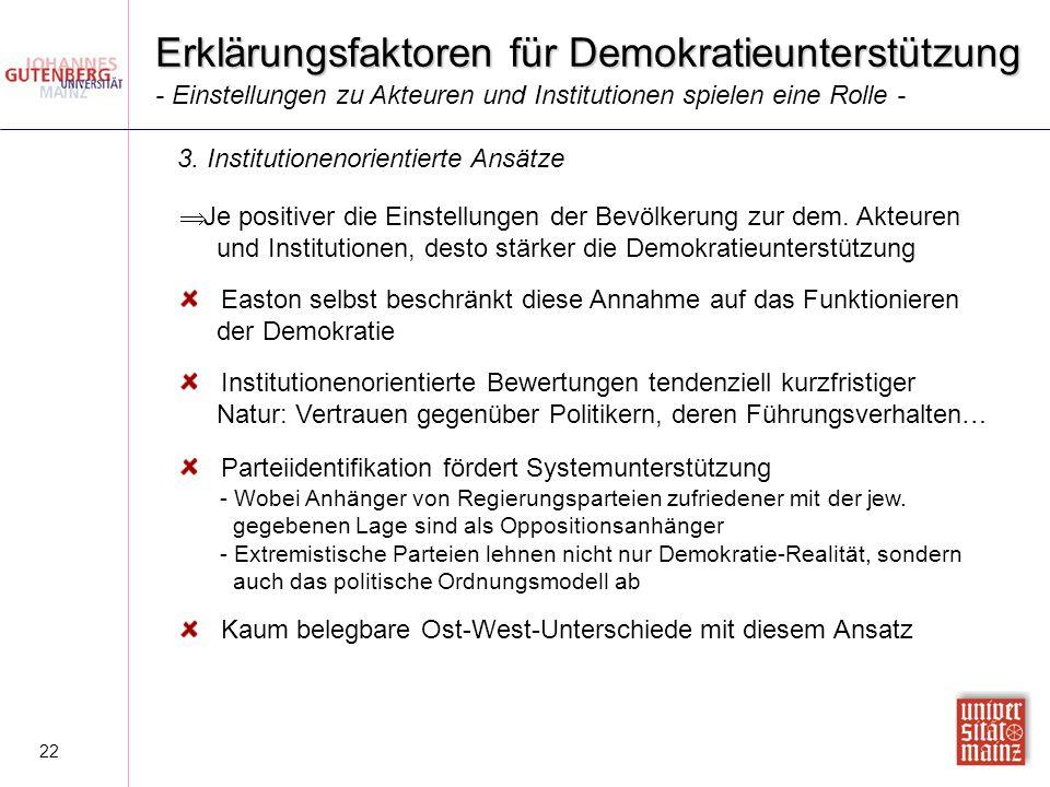 22 Erklärungsfaktoren für Demokratieunterstützung  Je positiver die Einstellungen der Bevölkerung zur dem. Akteuren und Institutionen, desto stärker