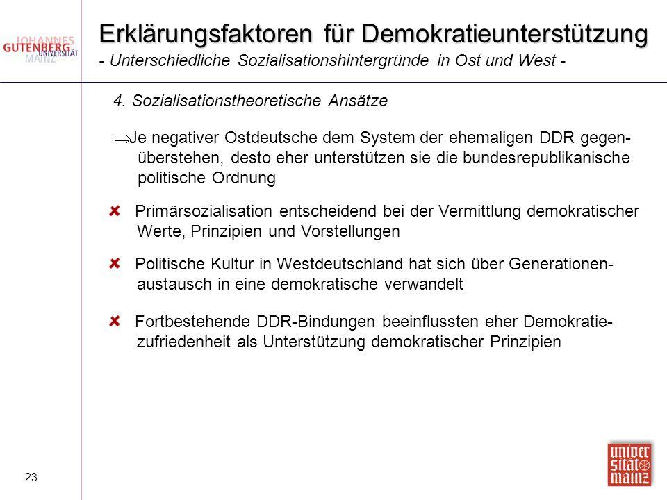 23 Erklärungsfaktoren für Demokratieunterstützung  Je negativer Ostdeutsche dem System der ehemaligen DDR gegen- überstehen, desto eher unterstützen