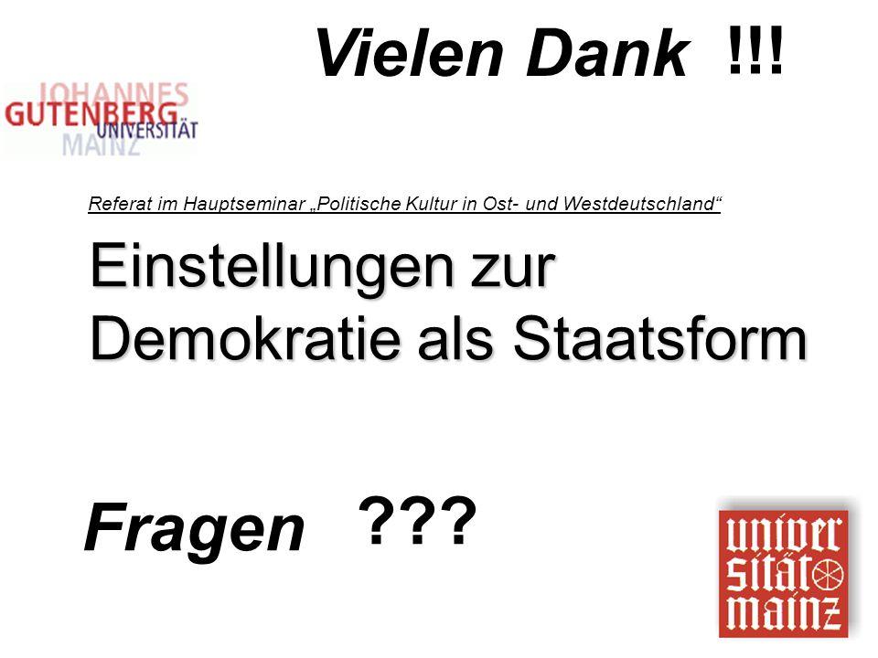 """Fragen ??? Vielen Dank !!! Einstellungen zur Demokratie als Staatsform Referat im Hauptseminar """"Politische Kultur in Ost- und Westdeutschland"""""""