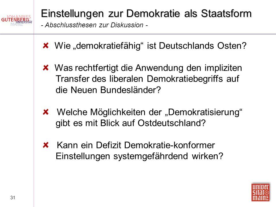 """31 Einstellungen zur Demokratie als Staatsform - Abschlussthesen zur Diskussion - Wie """"demokratiefähig"""" ist Deutschlands Osten? Was rechtfertigt die A"""