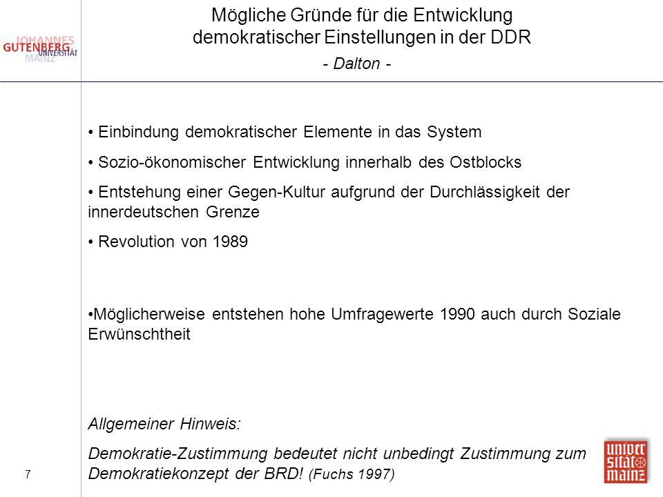 7 Einbindung demokratischer Elemente in das System Sozio-ökonomischer Entwicklung innerhalb des Ostblocks Entstehung einer Gegen-Kultur aufgrund der D