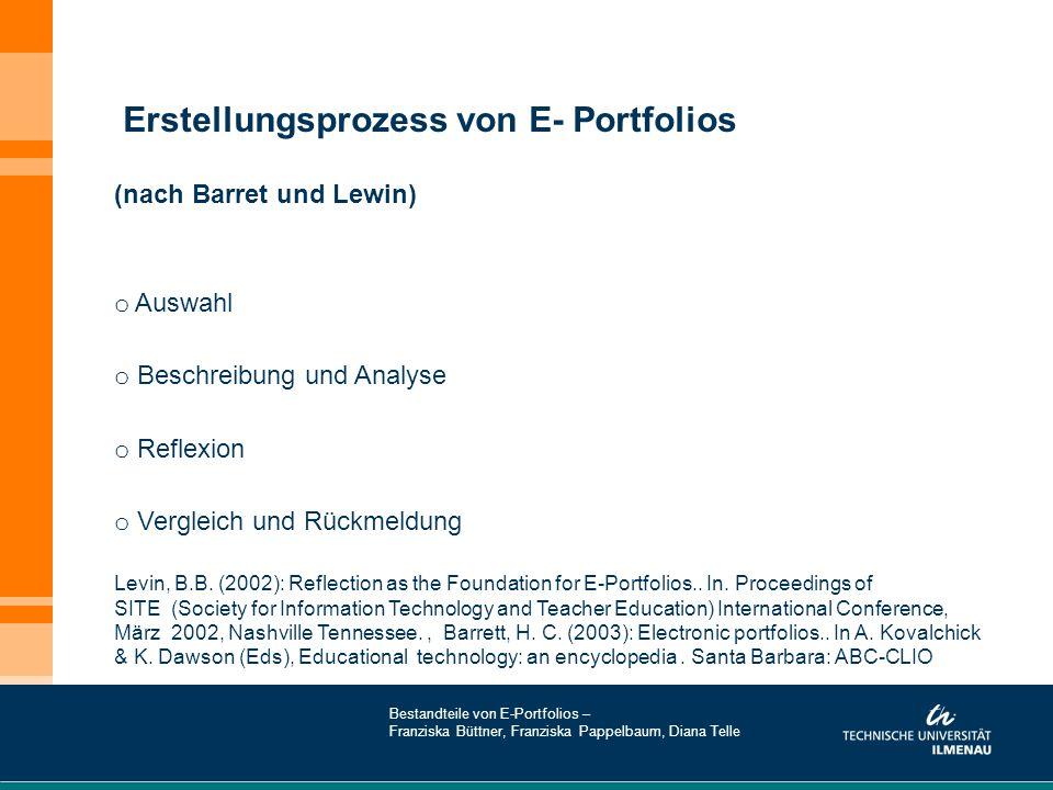 (nach Barret und Lewin) o Auswahl o Beschreibung und Analyse o Reflexion o Vergleich und Rückmeldung Levin, B.B. (2002): Reflection as the Foundation